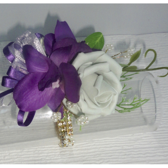 Plum & Light Grey Wrist Corsage