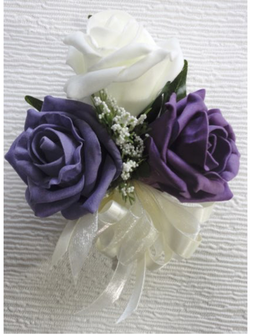 Ivory, Plum & Dusky Purple Rose Corsage