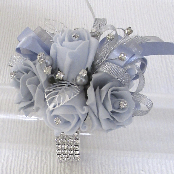 Powder Blue & French Grey Bling Wrist Corsage