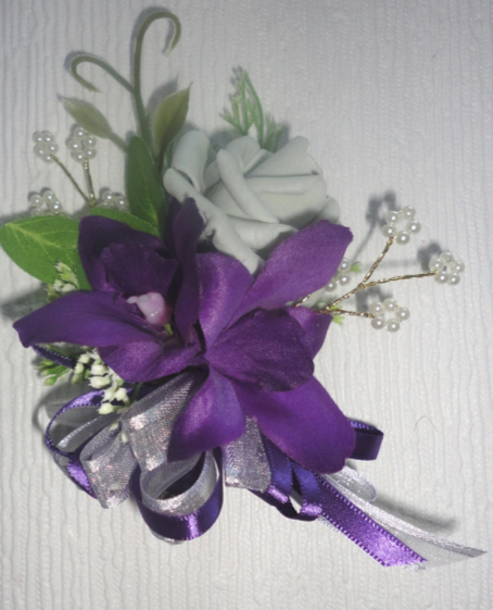 Plum Orchid & Light Grey Rose Corsage