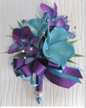 Purple & Turquoise Corsage, Orchids & Real Touch Plumerias