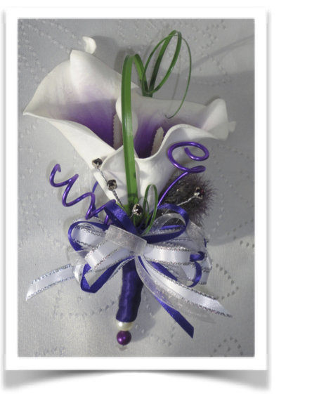 Purple Real Touch Picasso Calla Lily Corsage