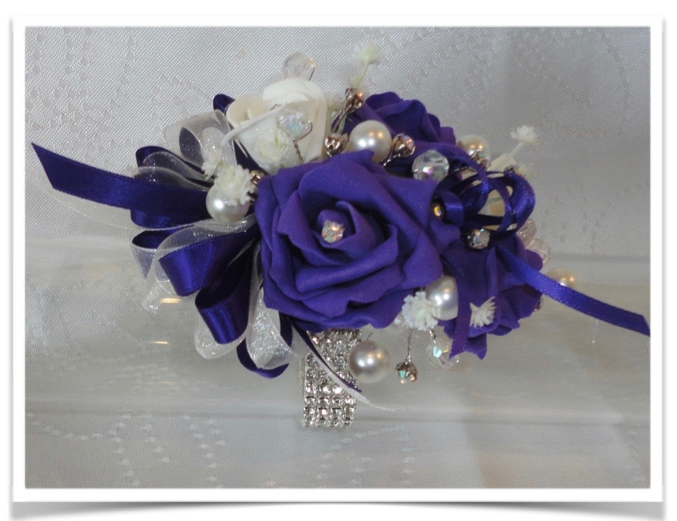 Purple & Ivory Bling Wrist Corsage
