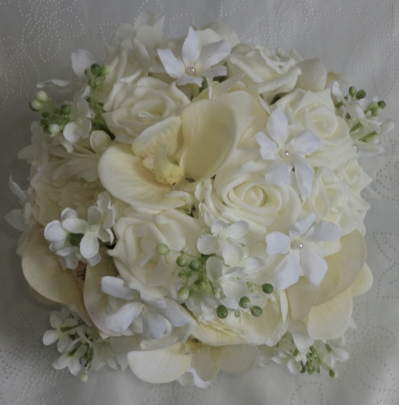 Ivory Real Touch Orchids and Rose Brides Bouquet