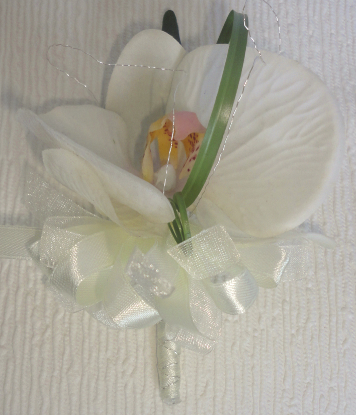 Real Touch Ivory Orchid Corsage with Silver Glitz Wire Detail & Beargrass Loop