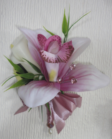 Real Touch Pink Orchid Corsage