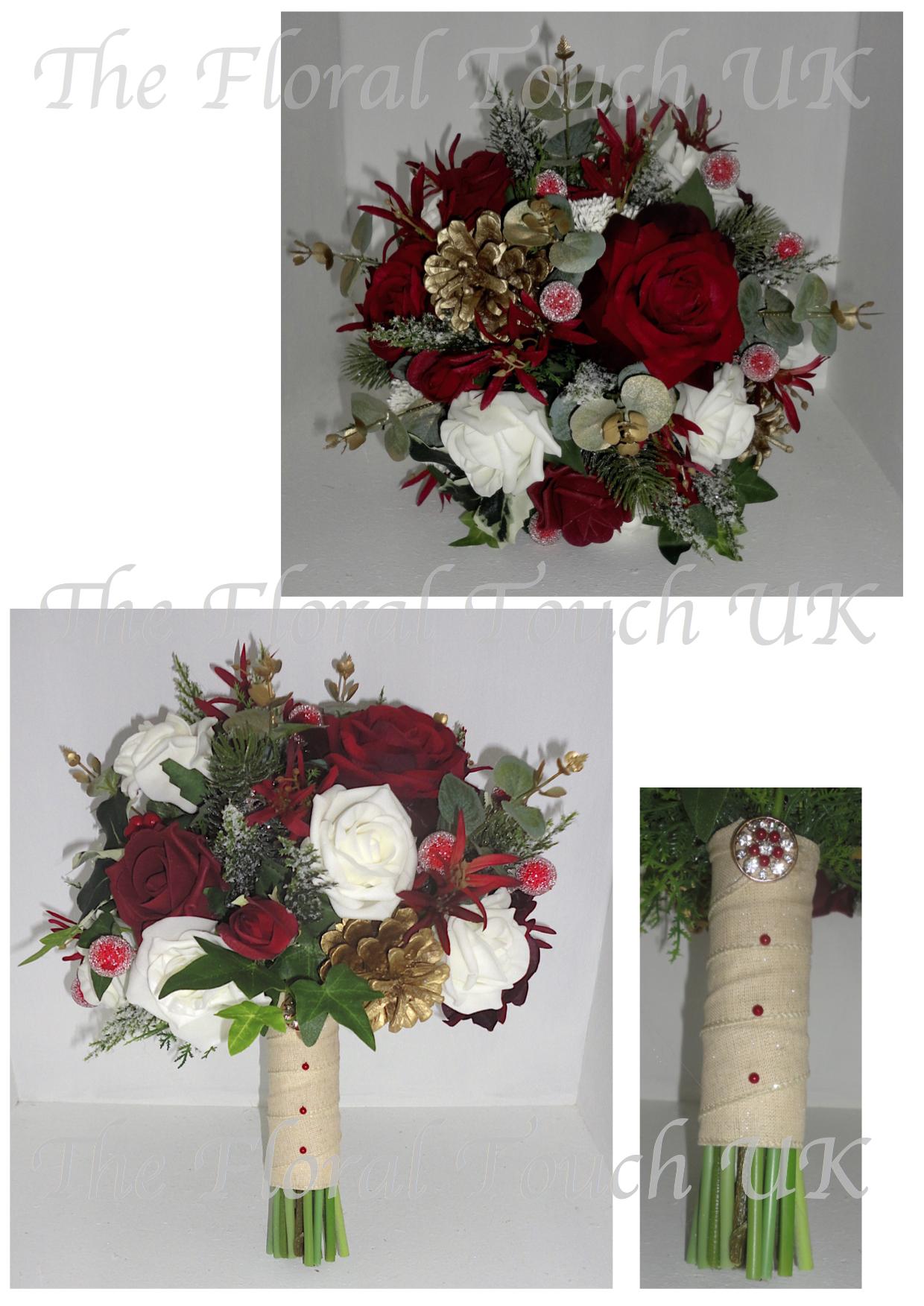 Christmas winter wedding bouquets burgundy deep red gold bridal bouquet junglespirit Choice Image