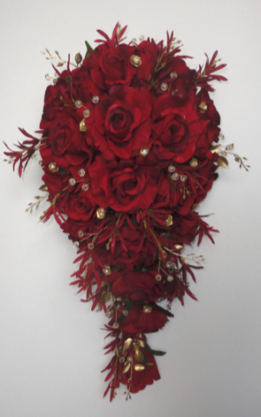Red & Gold Teardrop/Shower Bouquet