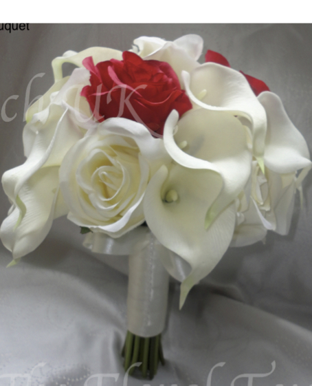 Red and Ivory Rose and Calla Lily Bridesmaid Bouquet