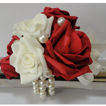 Red & Ivory Rose Wrist Corsage