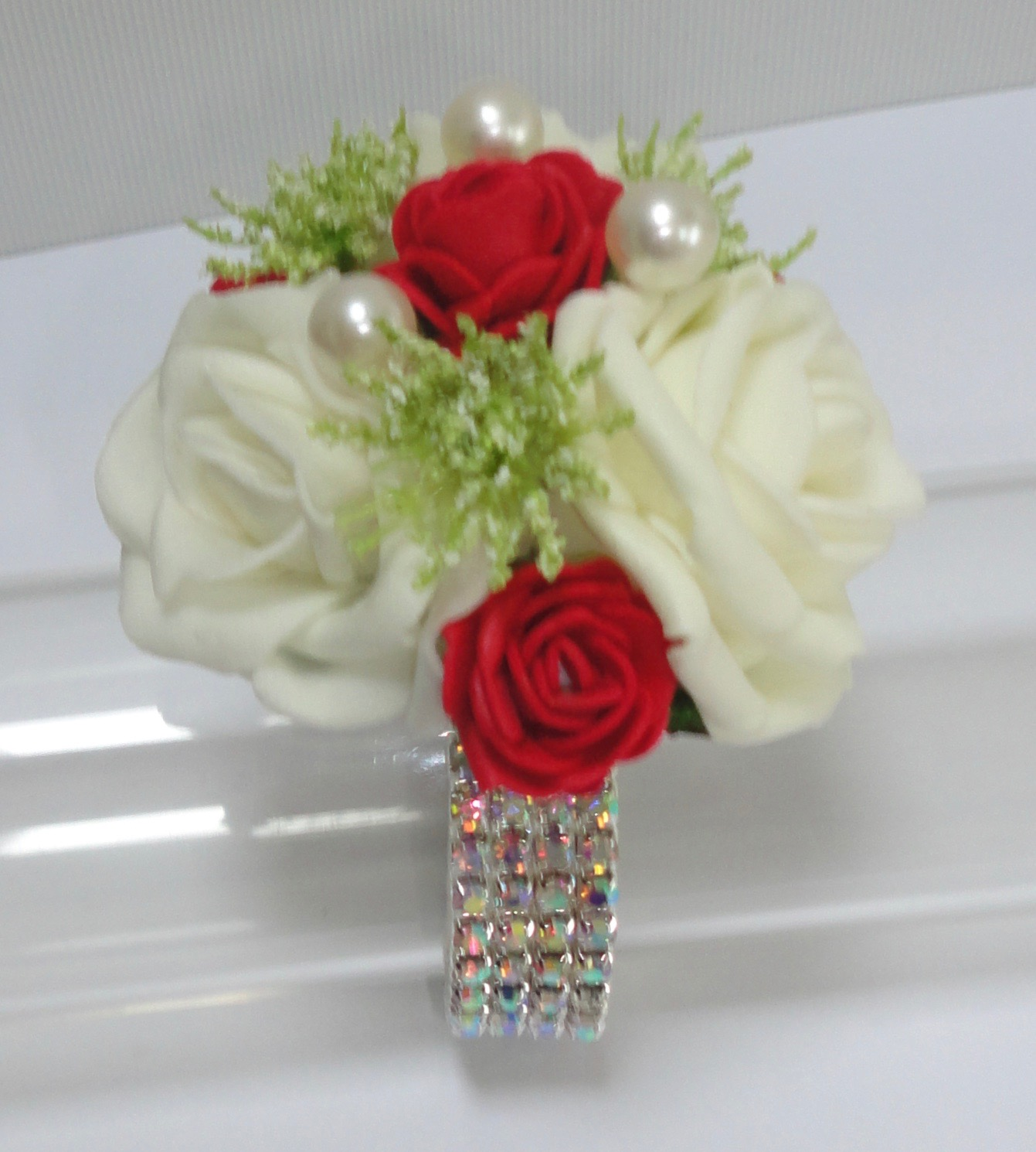 Small Ivory & Red Rose Wrist Corsage