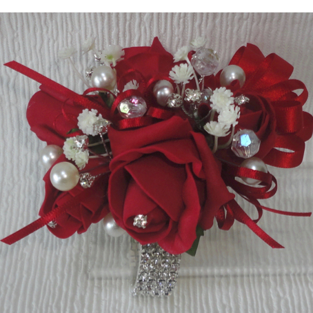 Blingy Red Rose Wrist Corsage