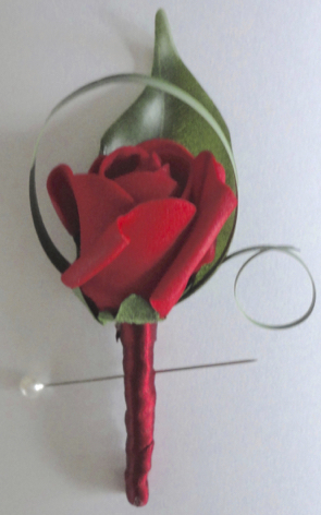 Red Rose Bud Buttonhole
