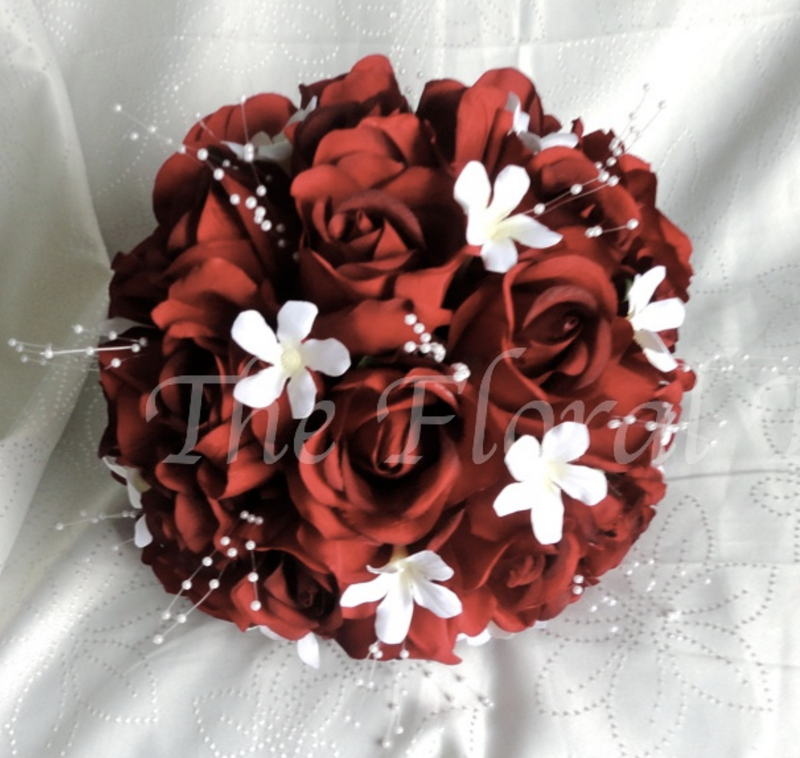 Red Rose & Stephanotis  Silk Wedding Bouquet