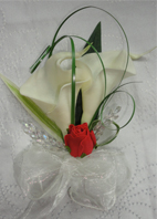 Red and Ivory Real Touch Calla Lily Corsage