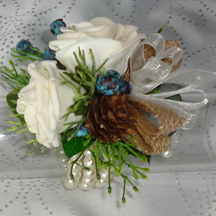 Rustic Style Rose & Pine Cone Wristlet