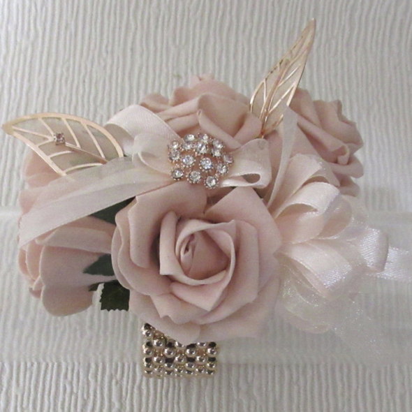 Rose Gold & Blush Wrist Corsage
