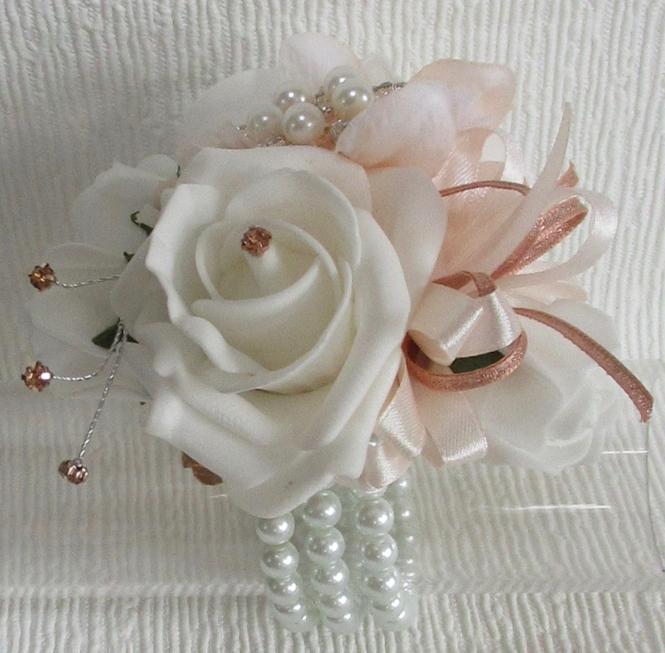 Beautiful Rose Gold, Blush & White Wrist Corsage