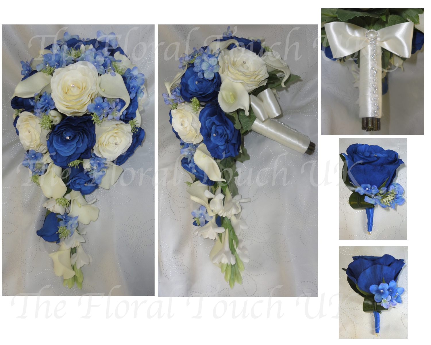 Royal Blue And White Bouquet With Silver Clear Crystals