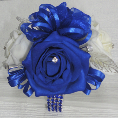 Royal Blue & White Rose Wrist Corsage