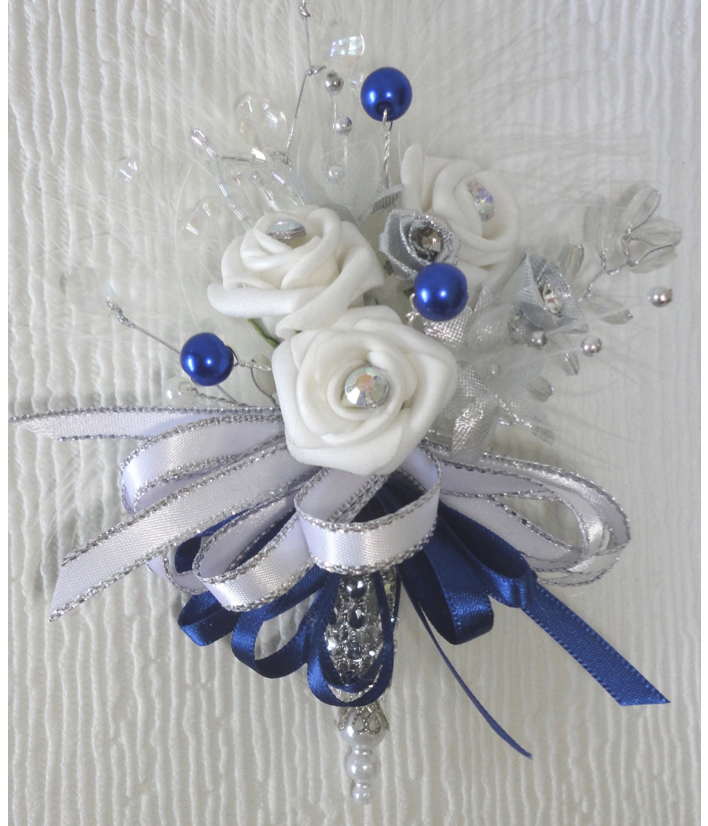 Royal Blue, Silver & White Small Pin On Corsage
