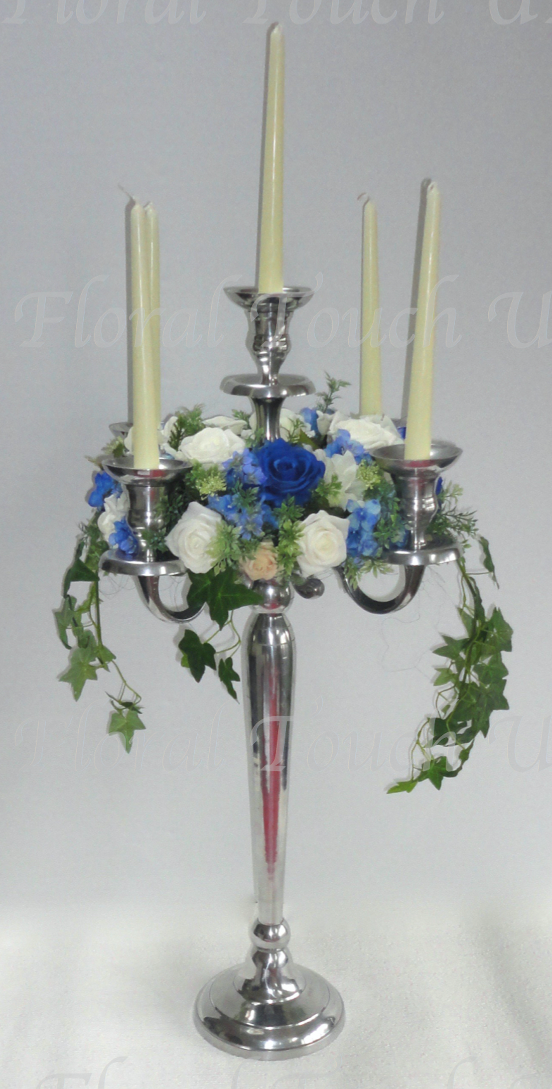 Royal Blue & Ivory Candelabra Wreath Centre