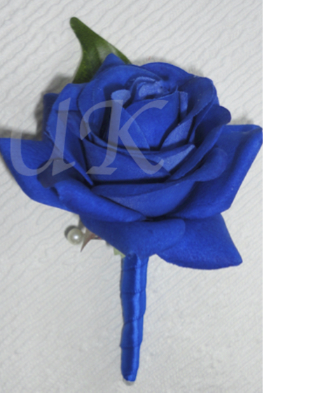 Royal Blue Fresh Touch Rose Buttonhole