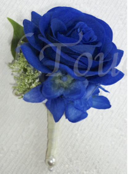 Royal Blue Fresh Touch Rose Buttonhole with Hydrangea