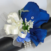 Midnight Blue Rose Wrist Corsage