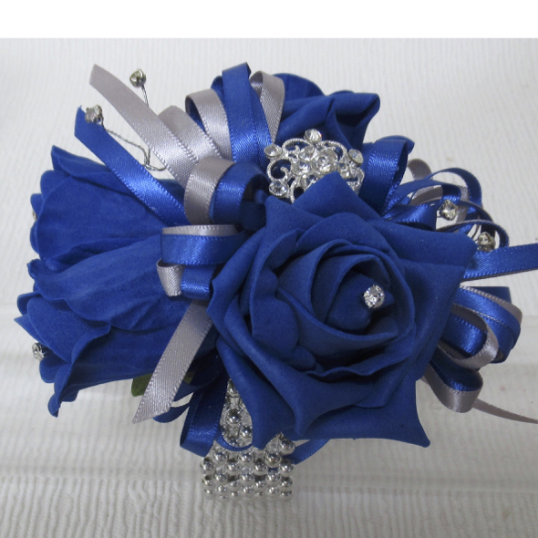 Royal Blue & Silver Wrist Corsage