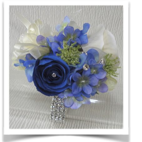 Royal Blue, Ivory & Blue Mix Hydrangea & Rose Wrist Corsage