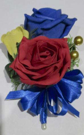 Royal Blue, Red & Gold Corsage