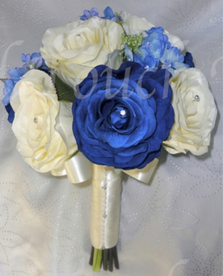 Royal Blue/Midnight & Ivory Bridesmaid Bouquet