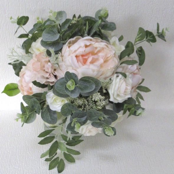 Peach Blush Peony Rose Rustic Style Wedding Bouquet