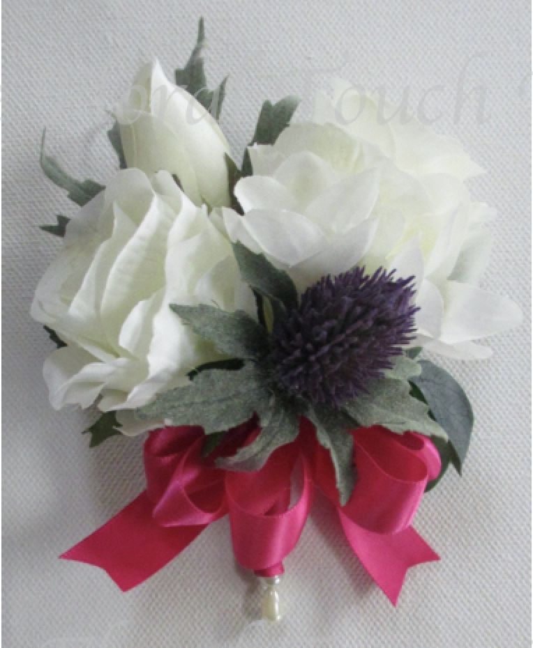 Ivory Silk Roses with Lifelike Eryngium Thistle