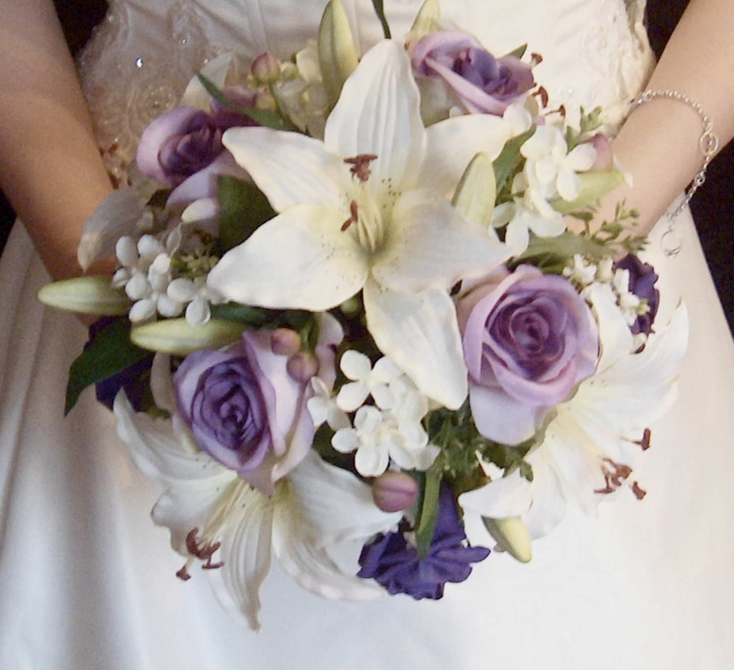 Silk Tiger Lily & Rose Bridal Bouquet