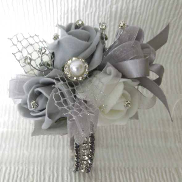Silver Grey Rose Bling Wrist Corsage