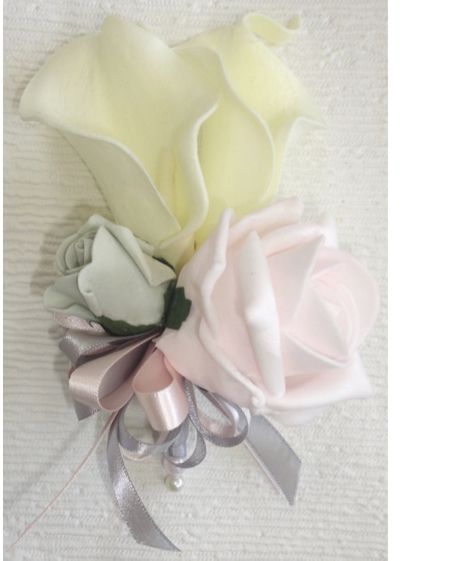 Silver Grey & Baby Pink Rose & calla Lily Corsage