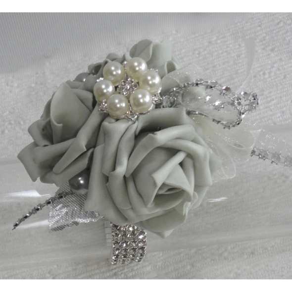 Silver Rose & Bling Wrist Corsage