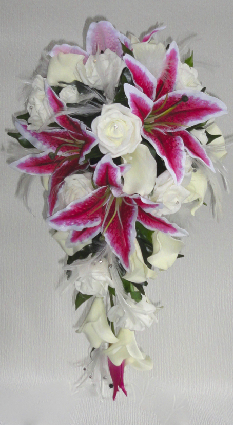 Stargazer Tiger Lily, Rose & Real Touch Calla Lily Shower Bouquet