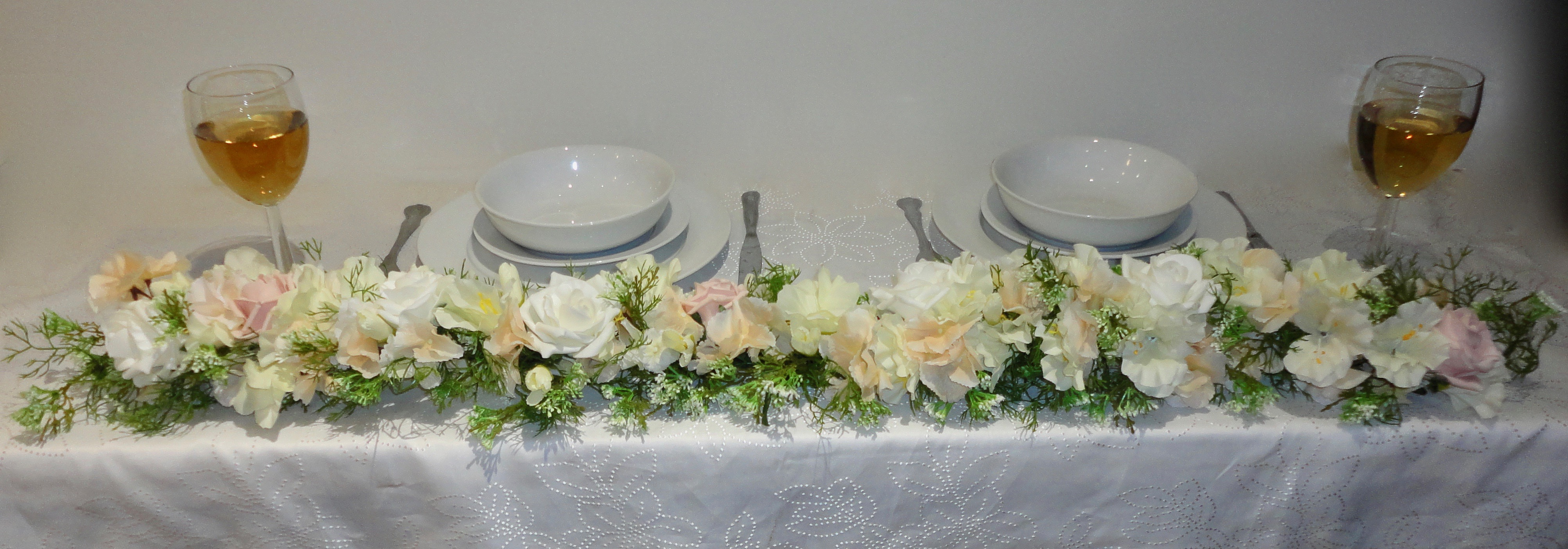 Wedding Garland Beautiful lush garland of blush hydrangea, ivory & blush roses, freesia