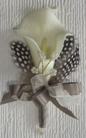 Taupe & Ivory Calla Lily Corsage