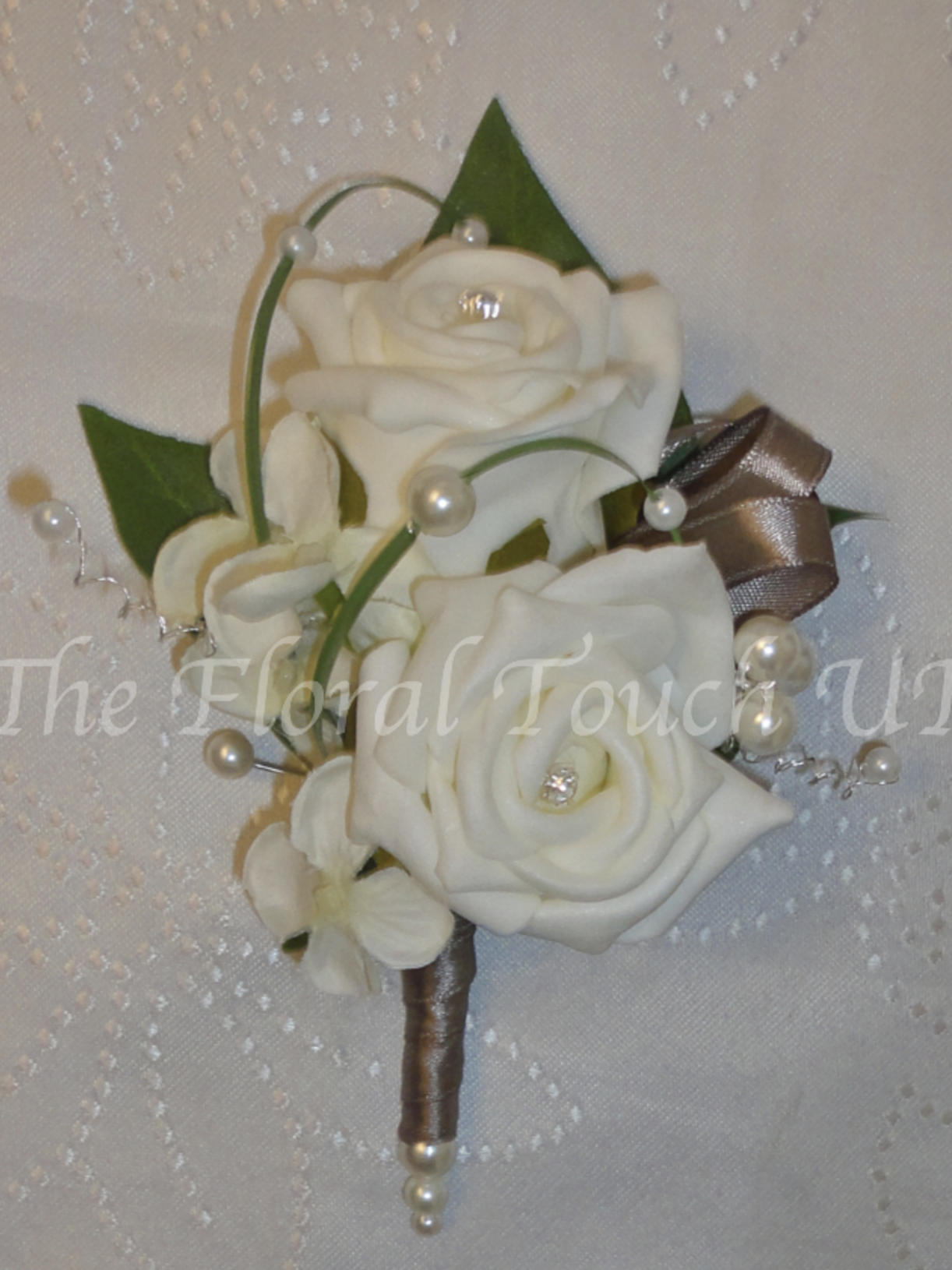 Taupe & Ivory Rose Corsage