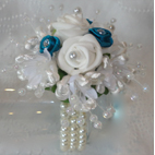 Teal & Ivory Flower Girl Wrist Corsage