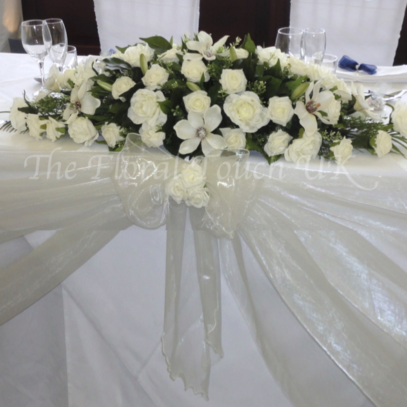 silk wedding flower top table centrepieces