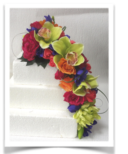 Orange, Lime, Pink and Purple Cascading Cake Topper