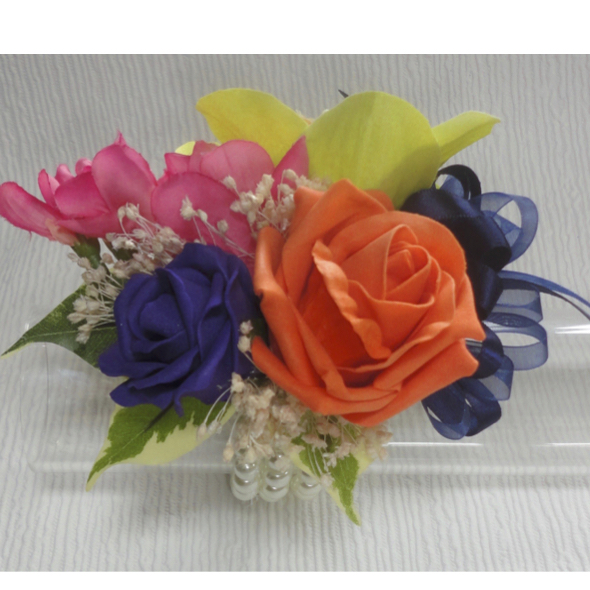 Tropical Pink, Orange, Lime & Purple Wrist Corsage