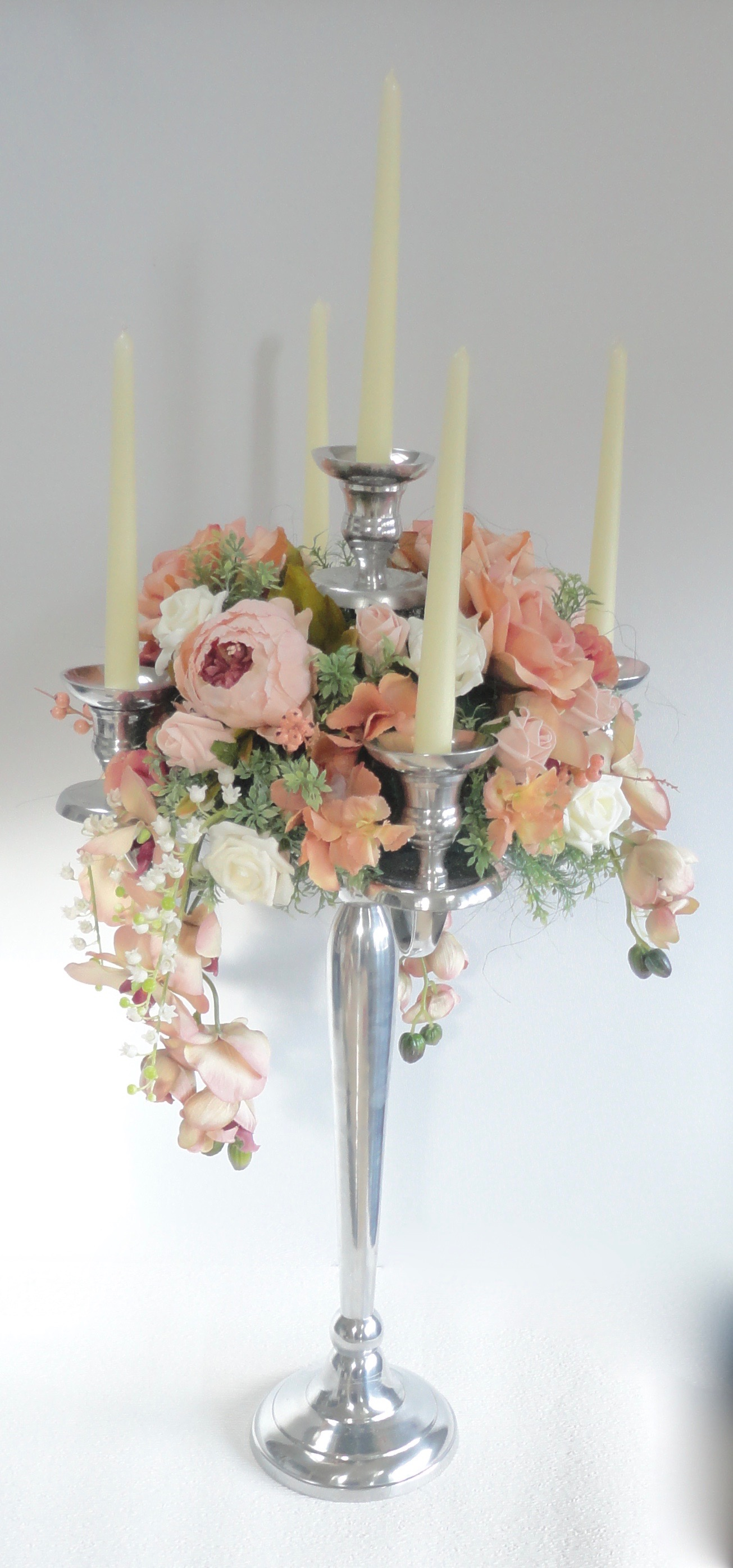 Peach Blush Vintage Style Wedding Centrepiece Wreath for Candelabras