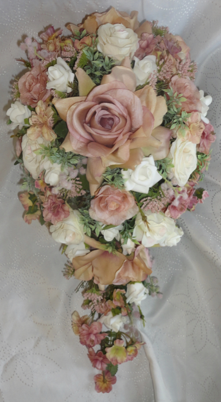 Vintage Style Blush, ivory & Dusky Pink Shower Bouquet
