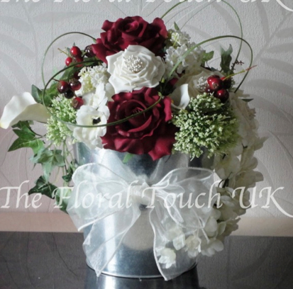 Silver Metal Bucket Table Centrepiece